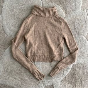 Asymmetrical Tan Turtleneck Sweater size s